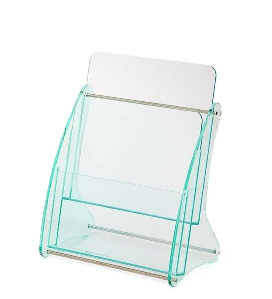 画像1: 日本製 高級 ガラス色アクリル製 卓上カタログ パンフレットスタンド A4判1列2段 (1)