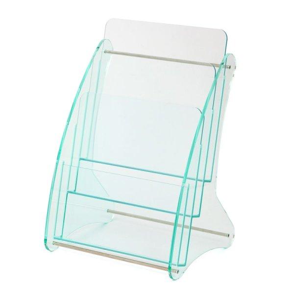 画像1: 日本製 高級 ガラス色アクリル製 卓上カタログ パンフレットスタンド A4判1列3段 (1)