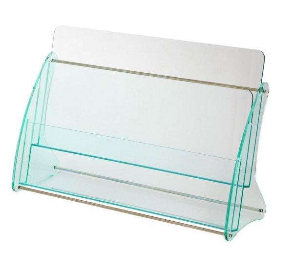 画像1: 日本製 高級 ガラス色アクリル製 卓上カタログ パンフレットスタンド A4判2列2段 (1)