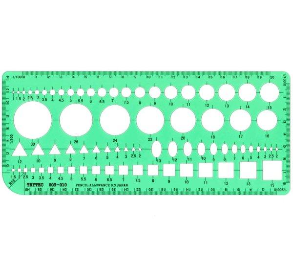 画像1: 建築士試験用組み合わせテンプレート定規 100X230X1mm (1)